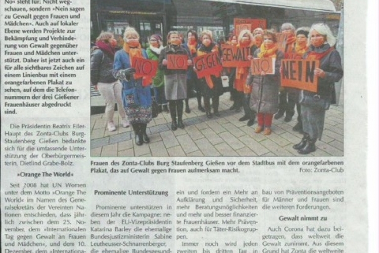 Presse Zonta says No (Sonntag Morgen Magazin 28 11 2020)
