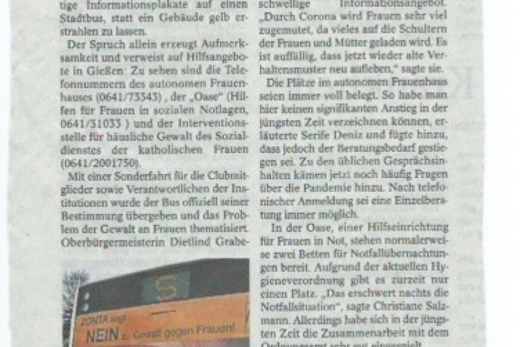 Presse Zonta Says No (Gießener Allgemeine 25 11 2020)